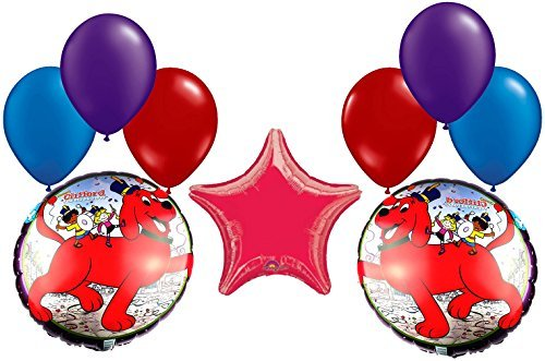 Clifford The Big Red Dog Birthday Party - Clifford, The Big Red Dog Orchestra Mylar and Latex Balloons Bouquet (9 Pcs)