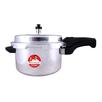 Wonderchef Ultima Outer Lid Aluminium Pressure Cooker, 7.5 Liter, Silver