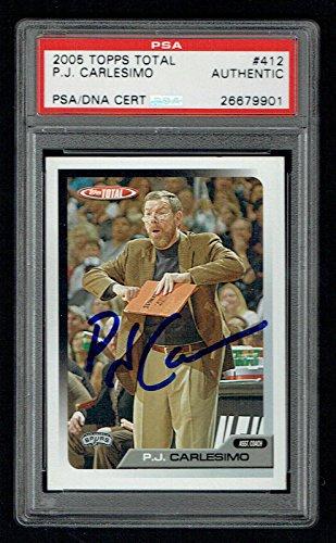 P.J. Carlesimo #412 signed autograph 2005 Topps Total Basketball Card PSA Slab