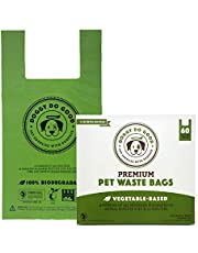 Biodegradable Dog Poop Bags | Compostable Dog Waste Bags, Unscented with Easy-tie Handles, Vegetable-Based & Eco-Friendly, Premium Thickness & Leak Proof, Easy Open, Supports Rescues