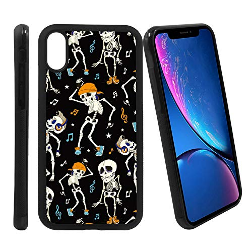 [Dancing Skeletons Music Party Halloween Pattern] Compatible with Apple iPhone XR, Non-Slip Soft Rubber Side & Hard Back Case Cover Shell Skin ()