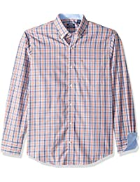 Men's Button Down Long Sleeve Stretch Performance Plaid...