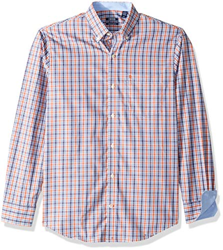 (IZOD Men's Premium Performance Natural Stretch Plaid Long Sleeve Shirt (Regular and Slim)