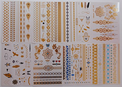 Best Flash Metallic Tattoos (8 Large Sheets) Temporary Fake Jewelry Bracelets Wrist & Arm Bands in Gold Silver & Turquoise , Non Toxic and Waterproof , Great Gift for Women & Girls to (Arm Band Jewelry)