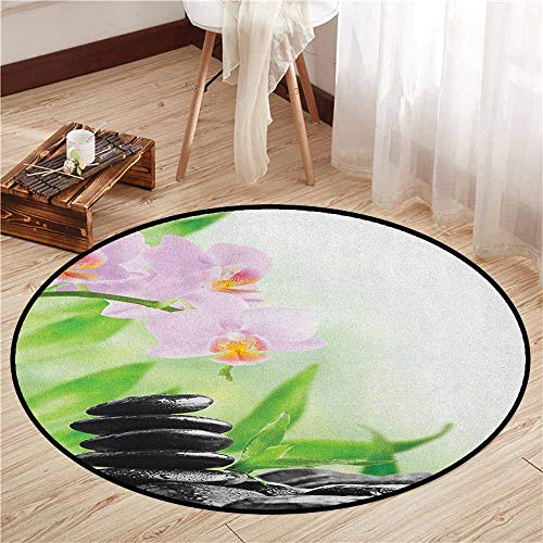 - Pet Rugs,Spa,Zen Basalt Stones and Orchid with Dew Peaceful Nature Theraphy Massage Meditation,Ideal Gift for Children,3'7