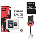 Kingston Original 128GB 128 GB SDHC MicroSD Memory Card + Card Reader for Lenovo Moto G5 Plus