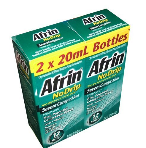 Afrin No Drip Severe Congestion Pump Mist Nasal Spray 12 Hour Relief 20 mL Bottle (Pack of ()