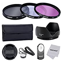 Neewer 58MM Professional Lens Filter Accessory Kit and IR Wireless RC-6 Remote Control for CANON EOS Rebel T5i T4i T3i T3 T2i T1i XT XTi XSi SL1 DSLR Cameras- Includes Filter Kit (UV, CPL, FLD) + Filter Carrying Pouch + Tulip Flower Lens Hood + Center Pinch Lens Cap with Cap Keeper Leash + Microfiber Cleaning Cloth+ IR Wireless RC-6 Remote Control