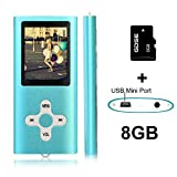 Goldenseller 8GB Mp3 Player Mp4 Player for a Micro SD Card Slot, Media Player, Music Player, Portable Videos Player,Voice Recording Player, With a support of MP3, JPEG, TXT files and WMA (Blue)