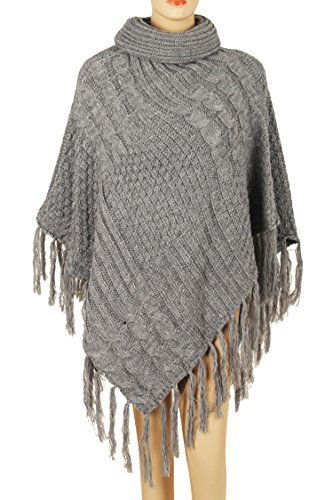 Pink Queen Women's Warm Turtleneck Knitted Chunky Poncho Shawl Sweater Jumper (One Size, A-Grey) (Poncho Turtleneck)
