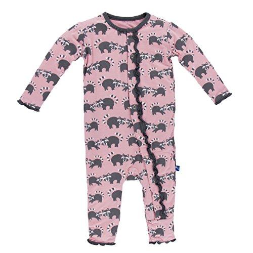 Kickee Pants Baby Girls' Print Muffin Ruffle Coverall Prd-kpmrc499-lrn, Lotus Raccoon, 9-12 Months