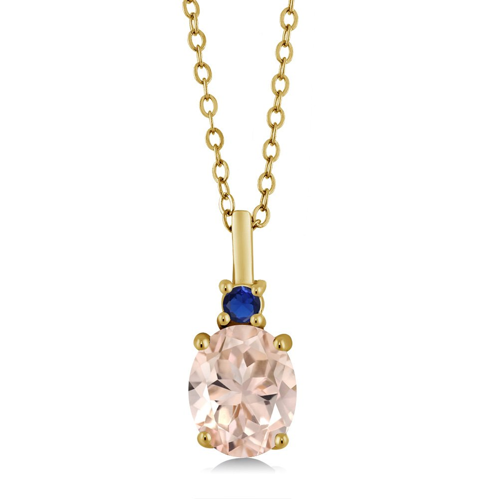 1.68 Ct Peach Morganite Simulated Sapphire 18K Yellow Gold Plated Silver Pendant