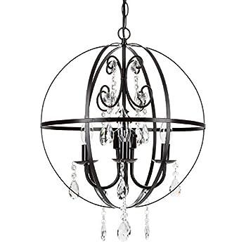 Luna Black Orb Crystal Chandelier, Metal Round Sphere Swag Plug-In 4 Light Globe Pendant Ceiling Lighting Fixture Lamp