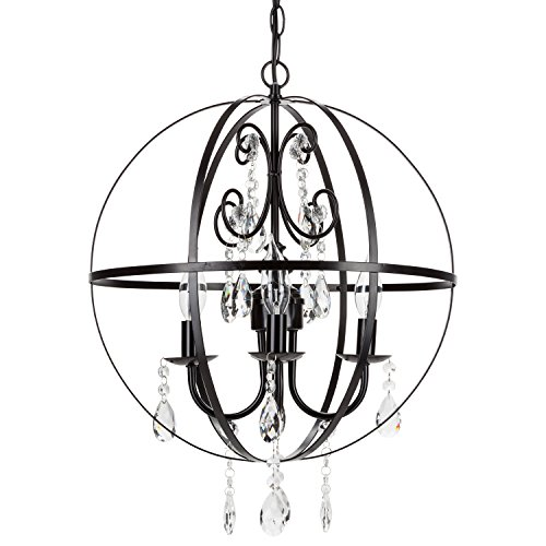 Luna Black Orb Crystal Chandelier, Metal Round Sphere Swag Plug-In 4 Light Globe Pendant Ceiling Lighting Fixture Lamp