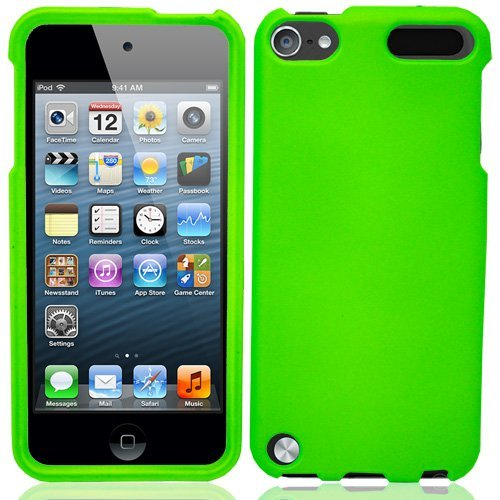Premium Soft Silicone Case Cover for Apple iPod Touch 5G 6G, 5th 6th Generation, 5th Gen 6th Gen - Green compatible with 32GB / 64GB - Ipod Touch Premium Silicone