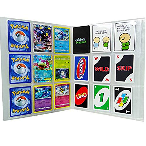 (SAIKA 288 Pockets Transparent Pokemon Trading Cards Album Sleeves Storage Page Protectors, Also Fits Other Card Games)