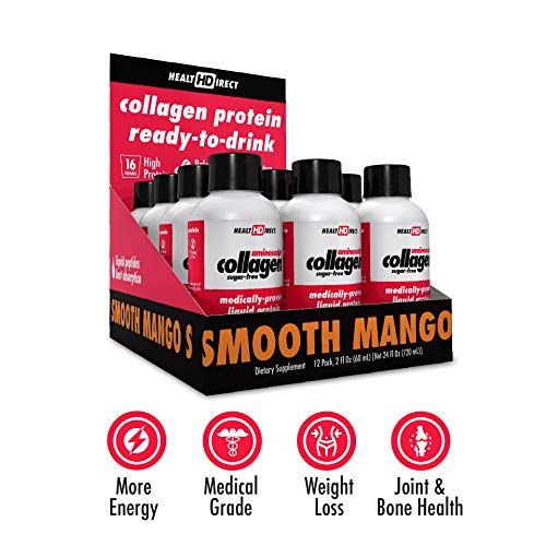 Medical-Grade Liquid Collagen Supplement | AminoSculpt Sugar-Free | 12-2 Fl Oz | Smooth Mango | Burn Fat | Recover | Good for Joints, Bones, and Sleep | Better Hair, Skin and Nails (Direct Fluid Health)