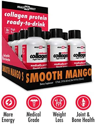 Medical-Grade Liquid Collagen Supplement   AminoSculpt Sugar-Free   12-2 Fl Oz   Smooth Mango   Burn Fat   Recover   Good for Joints, Bones, and Sleep   Better Hair, Skin and Nails