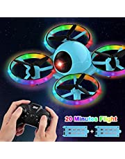 $39 » Dwi Dowellin 10 Minutes Long Flight Time Mini Drone for Kids with Blinking Light One Key Take Off Spin Flips Crash Proof RC Nano Quadcopter Toys Drones for Beginners Boys and Girls, 2 Battery, Blue