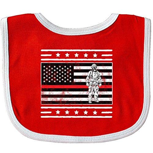 ter Flag Fireman First Responder Baby Bib Red/White 31437 ()