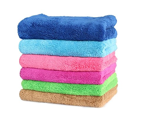 Cindy&Will 6pcs Super Water-absorbing Table Cleaning Duster Soft Microfiber Dish Cloth Rags, Size 1014