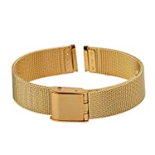 Xuexy 14mm Pebble Time Round Milanese Wire Mesh Stainless Steel Watch Band Strap Replacement Bracelet, Gold Golden