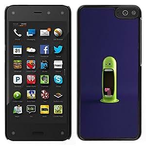 // PHONE CASE GIFT // Duro Estuche protector PC Cáscara Plástico Carcasa Funda Hard Protective Case for Amazon Fire Phone / Funny Green Monster /