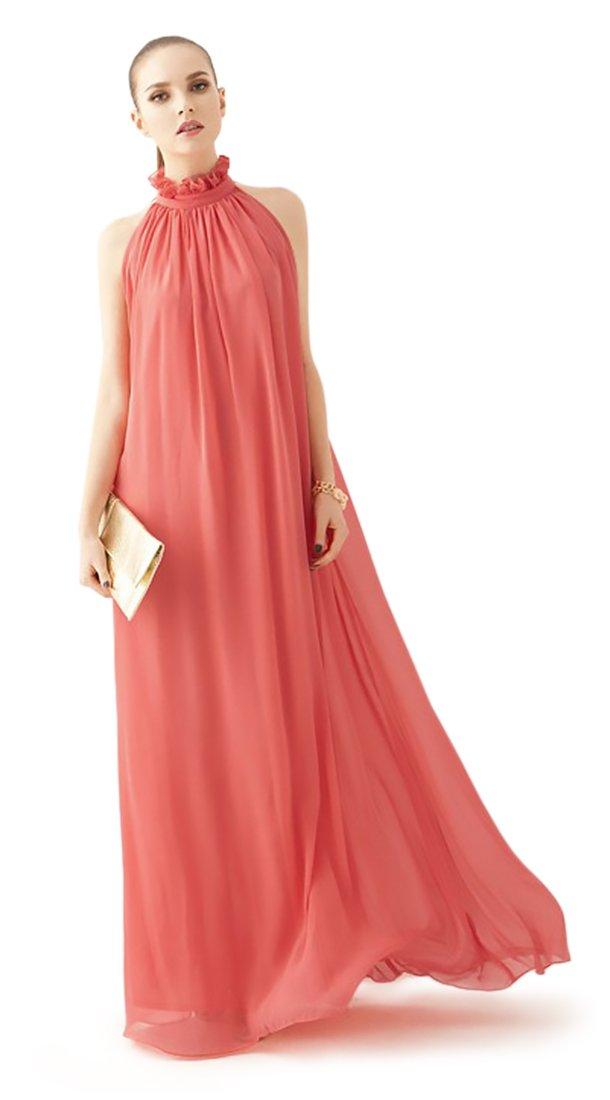 Summer Chiffon Ruffle Neck Sleeveless Evening Ball Gown Long Maxi Dress, Watermelon Red, Petite Small