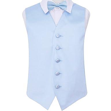 c5a333ae4948 DQT Premium Plain Satin Glossy Finish Solid Baby Blue Kids Children Boy's  Wedding Tuxedo Waistcoat Vest