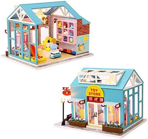 Cool Beans Boutique Miniature Dollhouse DIY Kit - Wooden Toy Shop -Dust Cover - Architecture Model kit (English Manual) / Cool Beans Boutique Miniature Dollhouse DIY Kit - Wooden Toy Shop -Dust Cover - Architecture Model kit (Engli...