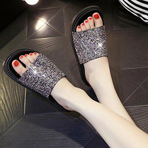 Elevin (tm) Dames Zomer Mode Romeinse Peep-toe Platform Plat Slipper Slipper Sandalen Schoenen Goud