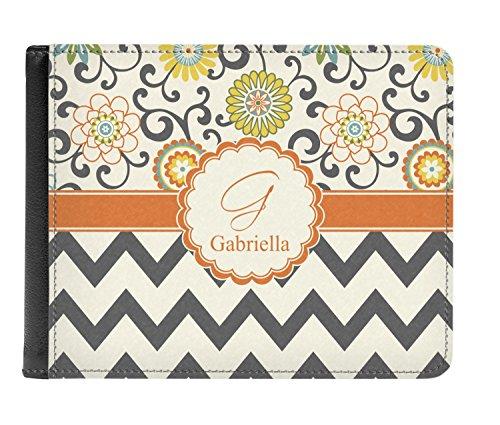 amp; Genuine Bi Swirls Men's fold Floral Leather Personalized Wallet Chevron tqKw5qr7Y