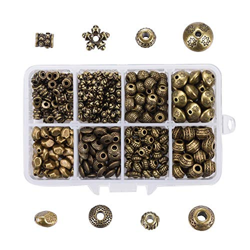 Pandahall 360pcs/Box 8Styles Antique Silver Tibetan Alloy Bead Spacers Assorted Beading Finding for Jewelry Makings Bracelets Necklaces Kits Oval/Flat Round/Flower/Rondelle/Barrel/Cuboid/Column/Bicone