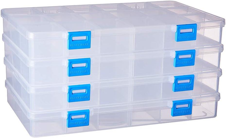 BENECREAT 4 Pack 18 Compartimientos Caja Ajustable de Plástico Contenedor de Almacenamiento para Joyas, Aretes, Abalorios, Pastillas, Piezas de Metal