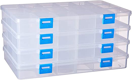 BENECREAT 4 Pack 18 Compartimientos Caja Ajustable de ...