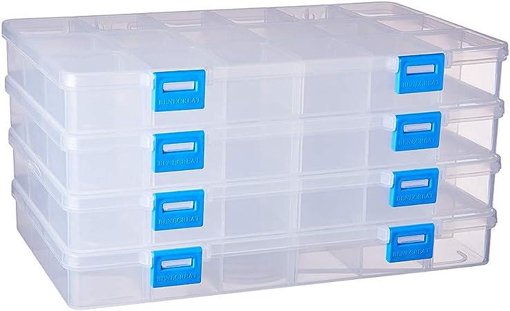 BENECREAT 4 Pack 18 Compartimientos Caja Ajustable de Plástico Contenedor de Almacenamiento para Joyas, Aretes, Abalorios, Pastillas, Piezas de Metal: Amazon.es: Juguetes y juegos
