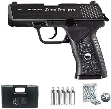 Borner W118 | Pistola de balines (Bolas bb's de Acero) Sistema blowback Tipo H&K USP Compact + maletín y Accesorios