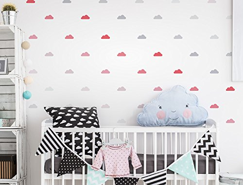 I-love-Wandtattoo WAS-10630 Wall stickers Kids Clouds with girl colors in pastel 48 pieces, cloud sky for gluing, wall tattoo, wall stickers, stickers, wall (Cloud Wall Stickers)