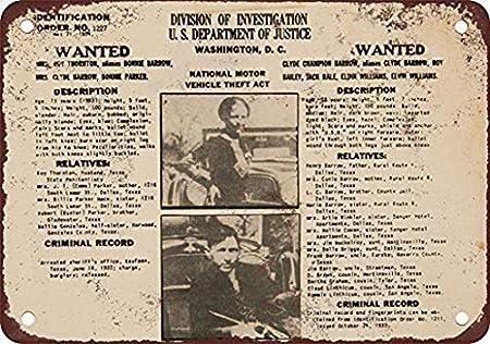 ABLERTRADE 1934 Bonnie & Clyde Wanted Póster Placa de Metal para Sala de Billar, Bar, recámara, Estilo Vintage, decoración de 20,3 x 30,5 cm: Amazon.es: Hogar