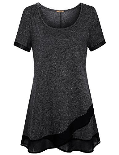Miusey Ladies Tunic, Crew Neck Stitch Layerd Patchwork Crossover Shirt Tops Girls Spring Decorative Skin Friendly Outdoor Trendy Fashion Wife Nice Dressy Fitted Maternity Cotton Short Sleeve Black (Ladies Tunic Length Crew T-shirt)