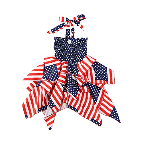 JBEELATE 4th of July Toddler Baby Girls Halter Dresses Ruffle Stars Striped Dress Independence Day Princess Beach Sundress Striped 1-2T