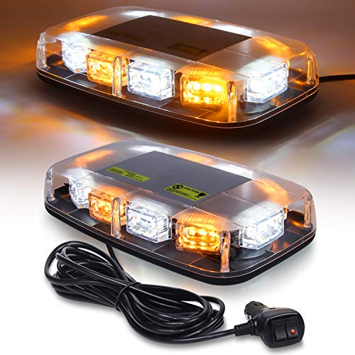 Linkitom LED Strobe Warning Light -30 LED High Intensity Emergency Flashing Lamps/Hazard Warning Mini Lighting Bar/Beacon/with Magnetic Base for Car Trailer Roof Safety (Amber/White)