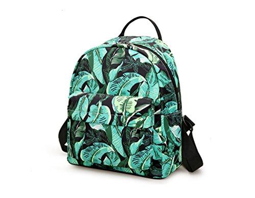 La Carrie Shop 0629# - Bolso mochila  para mujer azul II-navytreesmall CC-greenleavesmall