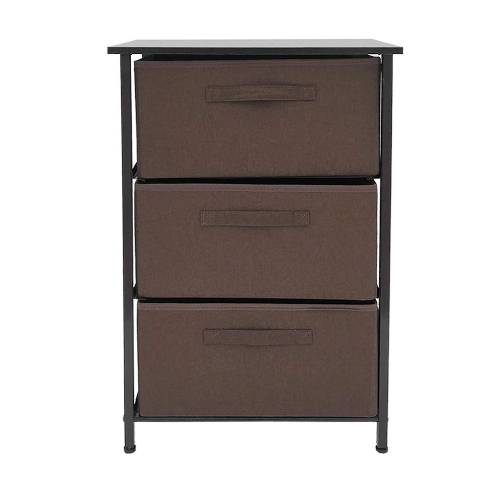 Buedvo Storage Cube Vertical Dresser Organizer for Closet, Nursery, Bathroom, Laundry or Bedroom 3 Fabric Drawers, Solid Wood Top, Durable Stee Frame by Buedvo