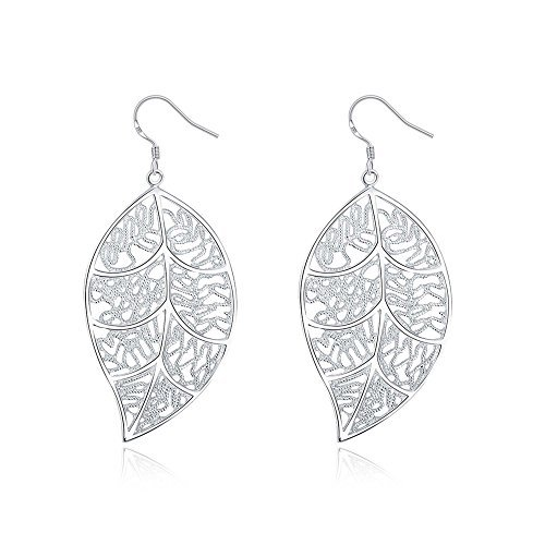 (PMANY 925 Sterling Silver Textured Lace Leaf Dangle Earrings (Filigree leaf))