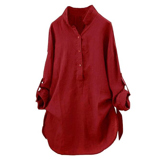 Mujeres Elegantes Camisa de Manga Larga Blusas de Verano y Camisas Casual Sólido Tallas Grandes Cuello en V Moda Suelta Blusa Soporte Blusa Camisa Superior ...