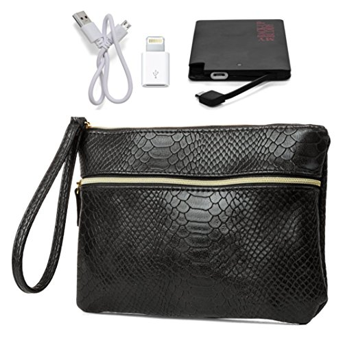 Price comparison product image MUNDI Womens Wristlet Wallet With Included External Portable Smartphone Charging Power Bank Battery Pack (Black)