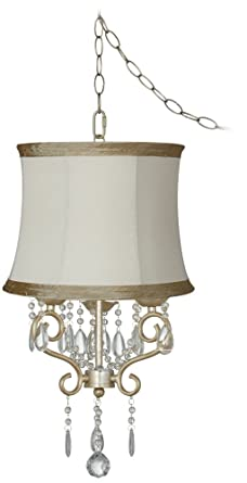 Conti 16 wide mini swag chandelier with ivory taupe shade conti 16quot wide mini swag chandelier with ivory taupe shade aloadofball Choice Image
