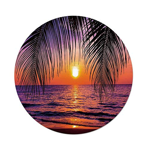 iPrint Polyester Round Tablecloth,Tropical Decor,Sunset over the Ocean with Tropical Palm Trees Twilight Sundown Scenery,Dining Room Kitchen Picnic Table Cloth Cover,for Outdoor Indoor