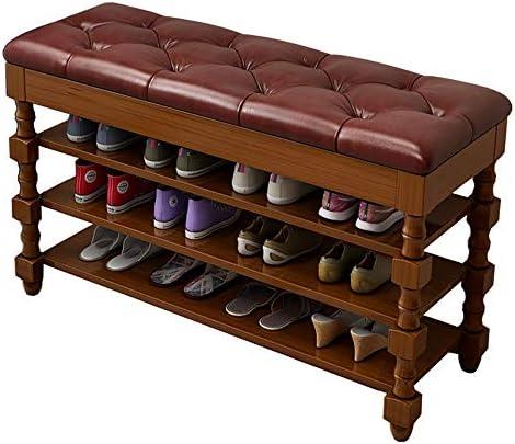 玄関 収納付き ベンチ バスルームのリビングルームの廊下に適したモダンな家具竹シューズラックベンチ玄関靴店軟部組織クッション 省スペース おしゃれ (Color : Red, Size : 80x35x62cm)